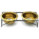 Modern Double Diner Stand with 2 Wide Rimmed Bowls