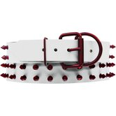 Genuine White Leather Dog Collar with Spikes