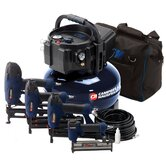 Inflation and Fastening 6 Gallon Air Compressor with 4 Nailer Kit