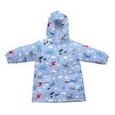 Lightweight Raincoat in Light Blue Planes