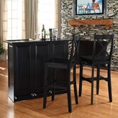 Mobile Folding Bar in Black with 30&quot; X-Back Stool in Black