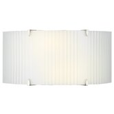 Edgebow Wall Light in Satin Nickel with White Ribbed Glass