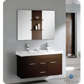 "Vilanie 48"" Modern Double Sink Bathroom Vanity with Mirror in Wenge Brown"