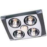 Four Bulb Quiet Bathroom Heater Fan with Light in Matte Chrome and Silver