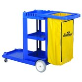 "Janitorial Cart, w/ 25 Gallon Bag, 55""x30""x38"", Blue"