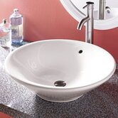 "Classically Redefined 21"" Round Ceramic Vessel Sink with Overflow"