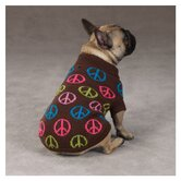 Peace Sign Dog Sweater in Brown