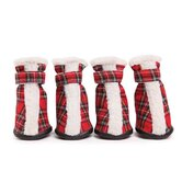 Large Holiday Tartan Dog Boots in Red