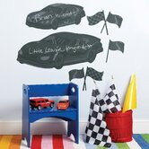 Fast Cars Chalkboard Vinyl Peel and Stick Mural
