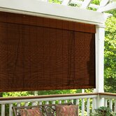 "Imperial Matchstick Bamboo Roll-Up Blind with 6"" Valance in Cocoa"