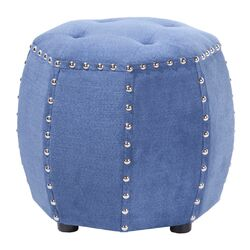 Madison Park Brianna Leather Octagon Tufted Ottoman