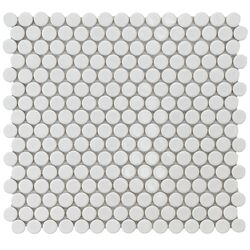 "Penny 3/4"" x 3/4"" Porcelain Glazed and Glossy Mosaic in White"