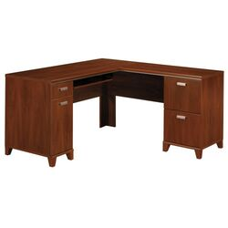 bush tuxedo l shaped executive desk with keyboard and. Black Bedroom Furniture Sets. Home Design Ideas