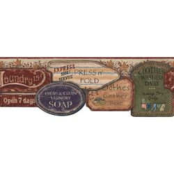 York Wallcoverings Welcome Home Laundry Signs Border Wallpaper