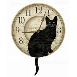 Cat Pendulum Clock in Black & Ivory
