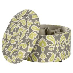 Tammy Shoe Upholstered Storage Ottoman in Ikat Grass