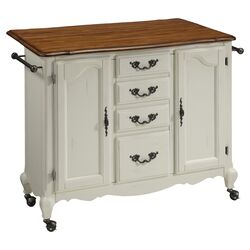French Countryside Oak Top Kitchen Cart in White