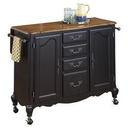 French Countryside Oak Top Kitchen Cart in Black