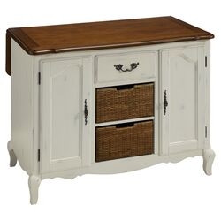 French Countryside Oak Top Kitchen Island in White
