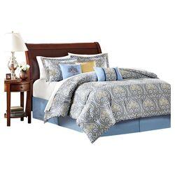 Antica 7 Piece Comforter Set in Blue