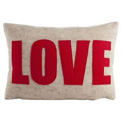 Love Decorative Pillow in Oatmeal & Red