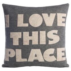 I Love This Place Decorative Pillow in Heather Gray & Oatmeal