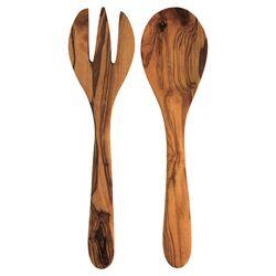 2 Piece Olive Wood Serving Set in Natural