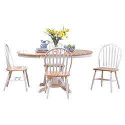 Harewood 5 Piece Dining Set in White & Natural