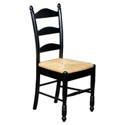 Ladderback Side Chair in Black & Natural (Set of 2)