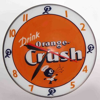 American Retro Double Bubble Orange Crush Glass Clock