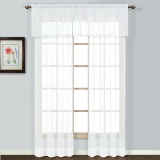 """United Curtain Co. Batiste 54"""" Curtain Valance - Color: White"""
