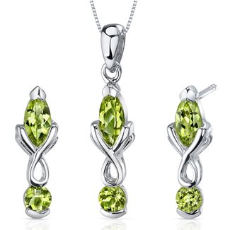 Oravo Marquise Cut Gemstone Ornate 2 Stone Design Pendant Earrings Set