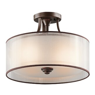 Kichler Lacey 3 Light Semi Flush Mount - Finish: Mission Bronze