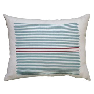 Balanced Design Hand Printed Louis Stripe Pillow - Color: Blue / Red Stripe