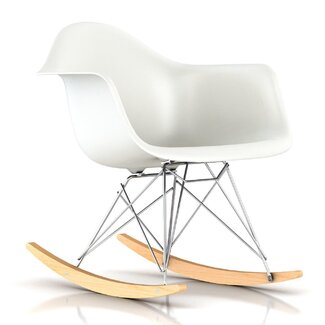 Herman Miller ® Eames RAR Molded Plastic Rocking Chair - Top Finish: Red, Base Finish: Black, Rocker Finish: Maple