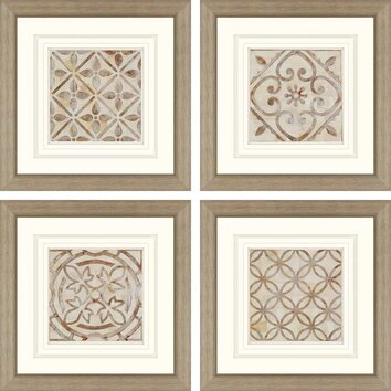 moroccan tiles by smith 4 piece framed graphic art set. Black Bedroom Furniture Sets. Home Design Ideas