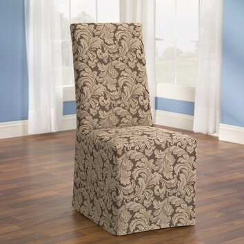 fit scroll classic dining chair skirted slipcover reviews wayfair