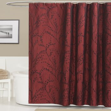Lush Decor Polyester Flower Texture Shower Curtain
