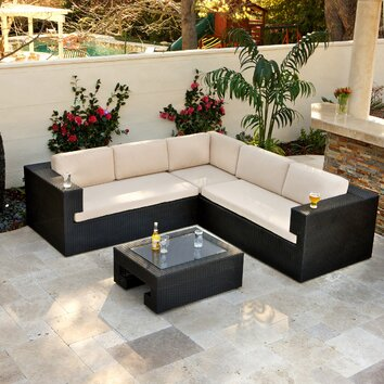 Home Loft Concept Brooklyn Pe Wicker 4 Piece Outdoor Sectional Deals