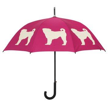 The San Francisco Umbrella Company Dog Park Pug Walking Silhouette Stick Umbrella