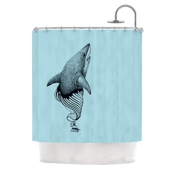 Shark record ii polyester shower curtain wayfair