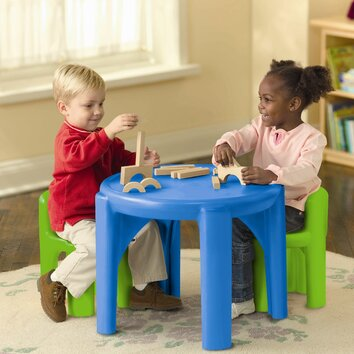 little tikes kids 3 piece table chair set ii reviews wayfair. Black Bedroom Furniture Sets. Home Design Ideas