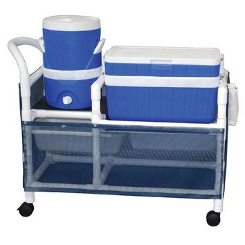 MJM International Hydration Cart with 48 Quart Ice Chest, 5 Gallon Water Cooler and Side Panels