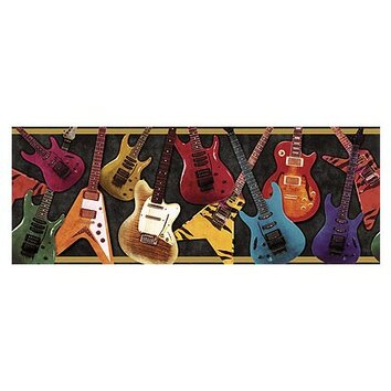 4 walls whimisical wall borders guitar wallpaper border - Guitar border wallpaper ...