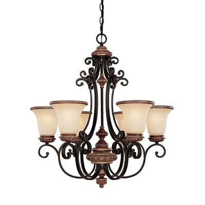 Capital Lighting Foxborough 6 Light Chandelier with Mist Scavo Glass Shade