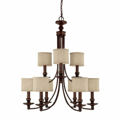 Capital Lighting Loft 9 Light Chandelier with Fabric Shade