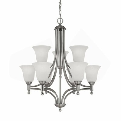 Metropolitan 9 Light Chandelier with Alabaster Glass