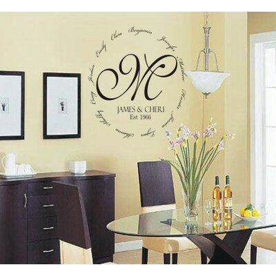 Alphabet Garden Designs Family Encircling Love Monogram Wall Decal