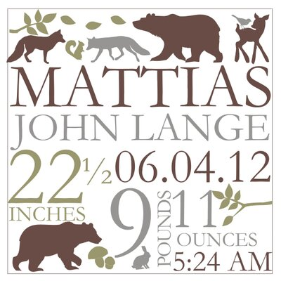 Alphabet Garden Designs Forest Critter Birth Announcement Canvas Wall Art