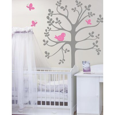 Spring Tree Birds and Butterflies Vinyl Wall Decal